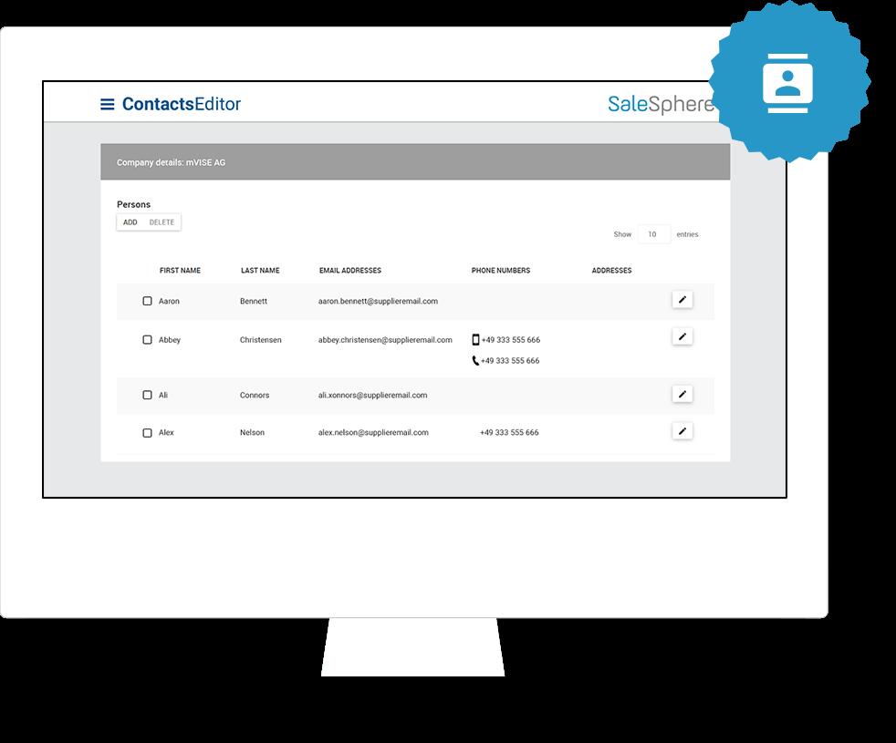 SaleSphere Kontaktverwaltung